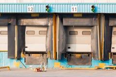 Distribution Center's empty Loading dock cargo doors Royalty Free Stock Photos