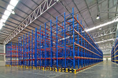 Distribution center warehouse storage shelving system Stock Photos