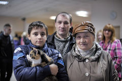 Distribution of charity exhibition of animals from the shelter Stock Photography