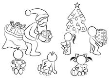 Distribution of  christmas presents. Vector illustration of santa claus giving presents to children at christmas Stock Photography