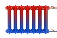 Distribution d'écoulement de la chaleur dans le radiateur de chauffage de fonte Photographie stock