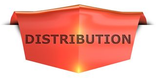 Banner distribution. Distribution 3D rendered red banner , isolated on white background stock illustration