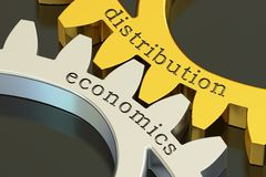 Distribution economics concept on the gearwheels, 3D rendering Stock Photography