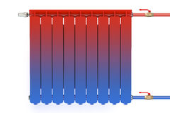 Distribution of heat flow in the radiator. On white background Stock Photo