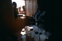 Distribution of medicines at a camp in Angola. Royalty Free Stock Photo