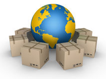 Distribution of parcels all over the world Stock Images