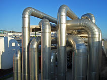 Distribution Pipe. Main distribution pipes in a thermal power plant Stock Photos