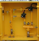 Distribution post. Box with gas equipment for local distribution stock photos
