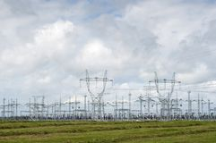 Distribution Power Plant. Blue sky and green grass Royalty Free Stock Photography