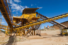 Distribution and Screening Plant Gravel. Machinery and classification according gravel size distribution via conveyor belts stock image