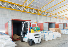 Distribution shipping warehouse for Global business shipping. Logistic,Import and Export business concept stock image