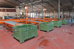 Distribution sorting. The interior of delivery and sorting warehouse royalty free stock images