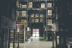 Distribution storehouse or modern warehouse exterior with vintag Royalty Free Stock Photo