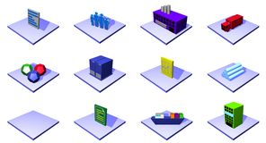 Distribution supply chain diagram objects and symb Stock Image