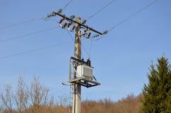 Distribution transformer on pole Stock Image