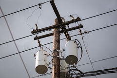 Free Distribution Transformers And Power Lines Stock Image - 70973641