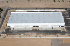 Distribution Warehouse from Above. Medium size Distribution Warehouse from an aerial view stock image