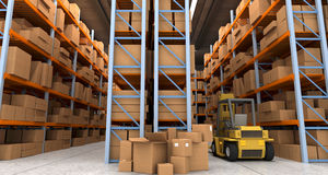 Distribution warehouse. 3D rendering of a distribution warehouse with shelves, racks, boxes, and forklift Stock Image