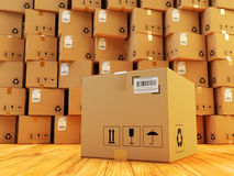 Distribution warehouse, package shipment, freight transportation and delivery concept Stock Photos