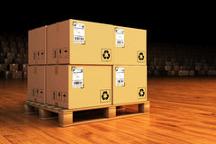 Distribution warehouse, package shipment, freight transportation and delivery concept Stock Photography
