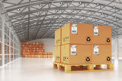 Distribution warehouse, package shipment, freight transportation and delivery concept Royalty Free Stock Photos