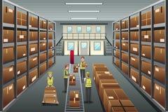 Distribution warehouse. A vector illustration of distribution warehouse viewed from above stock illustration