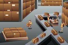 Distribution warehouse. A vector illustration of distribution warehouse viewed from above vector illustration