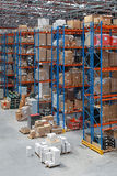 Distribution warehuse. Distribution warehouse with high rack shelving system stock image