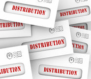 Distribution Word Envelopes Sending Sharing Money Circulation Stock Photo