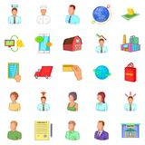 Distributive trades icons set, cartoon style Stock Images
