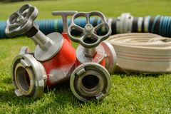 Distributor for fire hose - close-up Stock Photo