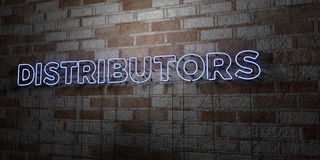 DISTRIBUTORS - Glowing Neon Sign on stonework wall - 3D rendered royalty free stock illustration Royalty Free Stock Photos