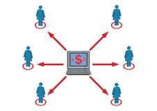 Distribuzione di ricchezza all'illustrazione del personale femminile Fotografia Stock Libera da Diritti