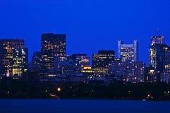 Distric finanziario di Boston in sera Immagini Stock