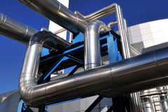 Distric heating power plant piping Royalty Free Stock Photography