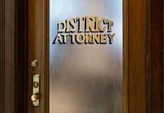 District Attorneys Office. Vintage door to the office of the District Attorney Stock Photography