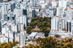 District in Brazilian city from high above. View from high point of modern urban cityscape on very bright summer day: multiple multistorey residential and office Stock Photography