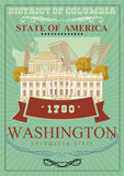 District of Columbia  poster. USA travel illustration. United States of America card. Washington retro poster Royalty Free Stock Photography