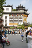 District of commerce nearg the City God Temple, Shanghai. SHANGHAI, CHINA - MAY 8, 2015: Traditional district of commerce in the city, surrounding the City God Royalty Free Stock Images
