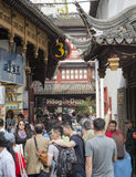 District of commerce nearg the City God Temple, Shanghai. SHANGHAI, CHINA - MAY 8, 2015: Traditional district of commerce in the city, surrounding the City God Stock Photo