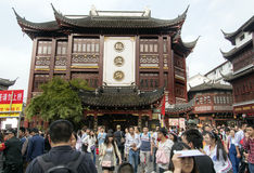 District of commerce nearg the City God Temple, Shanghai. SHANGHAI, CHINA - MAY 8, 2015: Traditional district of commerce in the city, surrounding the City God Stock Images