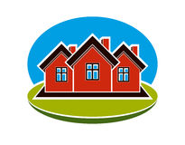 District conceptual vector illustration, three simple houses. Ho Stock Images