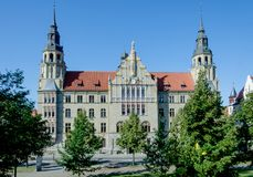 District court, Halle Saale, Saxony Anhalt. Nice late summer day at sunday morning. No People Royalty Free Stock Photo