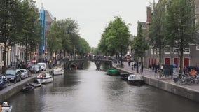 District de lumière rouge Amsterdam banque de vidéos