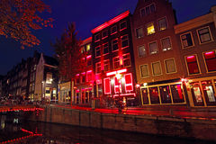 District de lumière rouge aux Pays Bas d'Amsterdam Images stock