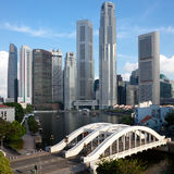 District de Singapour et passerelle financiers d'Elgin Photographie stock