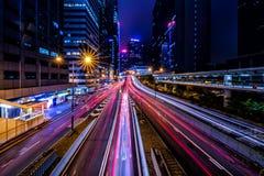 District des affaires central de Hong Kong la nuit images libres de droits