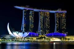 District des affaires central de Singapour la nuit photo stock