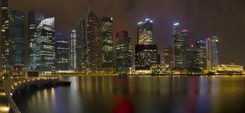 District des affaires central de Singapour la nuit photographie stock libre de droits