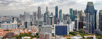 District des affaires de central de paysage urbain de Singapour Photos stock